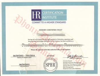 Fake HR Certification from PhonyDiploma Cert-HR